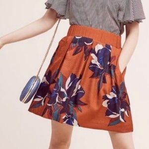 Maeve Anthropologie orange floral zip skirt 14